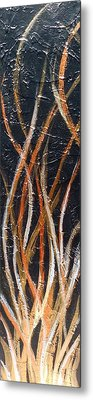 Whispering Reeds Abstract Triptych Paintings Metal Print by Holly Anderson