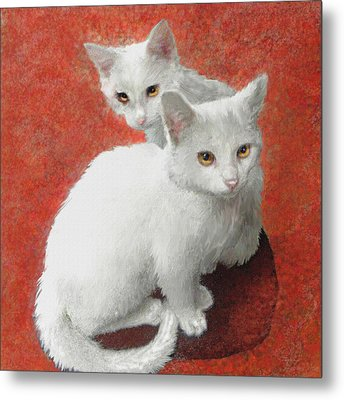 White Kittens Metal Print