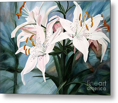 Metal Print featuring the painting White Lilies by Laurie Rohner