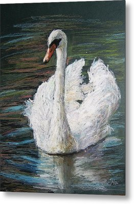 Metal Print featuring the painting White Swan by Jieming Wang
