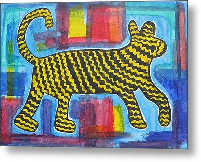 Metal Print featuring the painting Wild Cat by Diane Pape