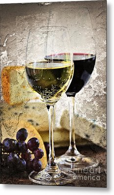 Wine And Cheese Metal Print by Elena Elisseeva