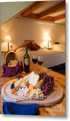 Wine And Cheese In A Luxurious Hotel Room. Metal Print