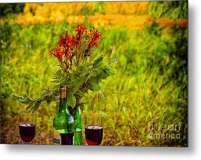 Wine And Flowers Metal Print by Les Palenik