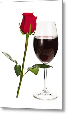 Wine With Red Rose Metal Print by Elena Elisseeva
