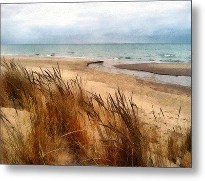 Winter Beach At Pier Cove Ll Metal Print by Michelle Calkins