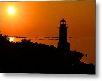 Winter Island Lighthouse Sunrise Metal Print