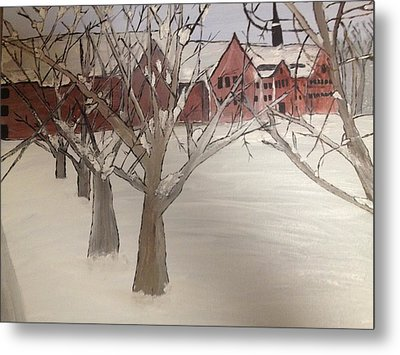 Metal Print featuring the painting Winter University by Paula Brown