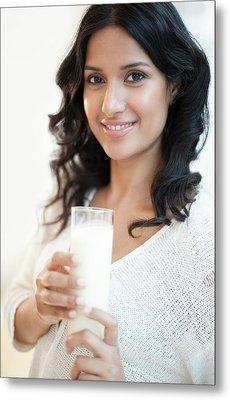 Woman Holding Milk Metal Print