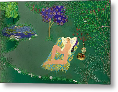Woman In Garden With Pond Metal Print