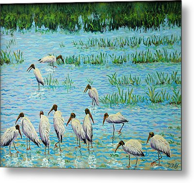 Wood Stork Discussion Group Metal Print by Dwain Ray
