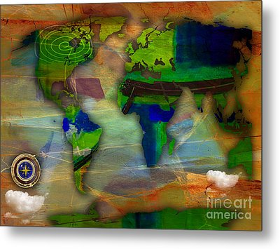 World Map And Compass Watercolor Metal Print by Marvin Blaine