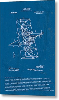 Wright Brothers Flying Machine Patent Metal Print