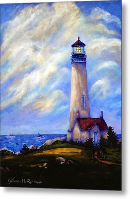 Yaquina Head Lighthouse Oregon Metal Print by Glenna McRae