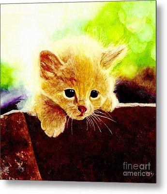Yellow Kitten Metal Print by Hailey E Herrera