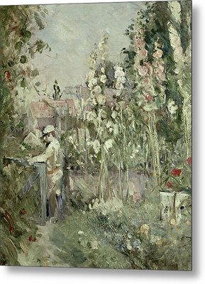 Young Boy In The Hollyhocks Metal Print by Berthe Morisot