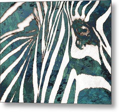 Zebra Art Stylised Drawing Art Poster Metal Print