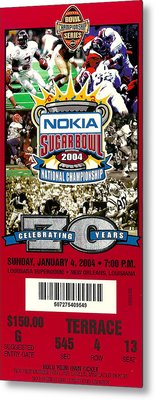 2004 National Championship Ticket - Lsu Vs Oklahoma Metal Print by David Patterson