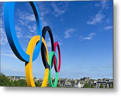 2012 Olympic Rings Over Edinburgh Metal Print
