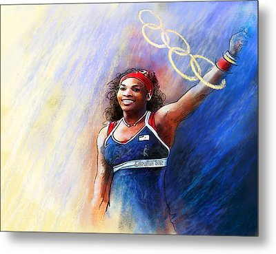2012 Tennis Olympics Gold Medal Serena Williams Metal Print by Miki De Goodaboom