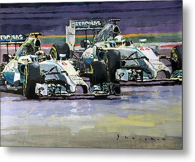 2014 F1 Mercedes Amg Petronas  Lewis Hamilton Vs Nico Rosberg Metal Print by Yuriy Shevchuk