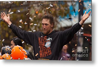2014 World Series Champions San Francisco Giants Dynasty Parade Sergio Romo 5d29766 Metal Print by Wingsdomain Art and Photography