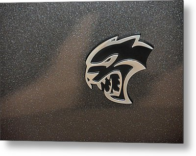 2015 Dodge Challenger Srt Hellcat Emblem Metal Print by Mike Martin