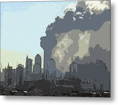 Cutout Tempera Impressions From Tuesday Morning In September Metal Print