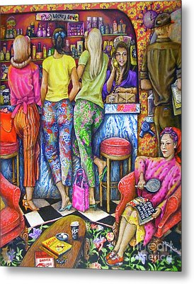 Shop Talk Metal Print by Linda Simon