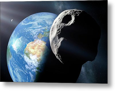 Asteroid Approaching Earth Metal Print