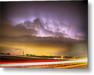 25 To 34 Intra-cloud Lightning Golden Light Car Trails Metal Print by James BO  Insogna