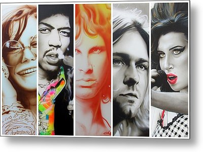 Jimi Hendrix, Kurt Cobain, And Amy Winehouse Collage - '27 Eternal' Metal Print