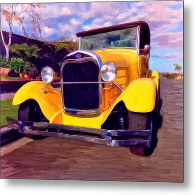Metal Print featuring the painting '28 Ford Pick Up by Michael Pickett