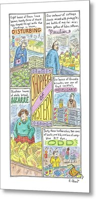 Captionless: Shoppers Of Mystery Metal Print by Roz Chast