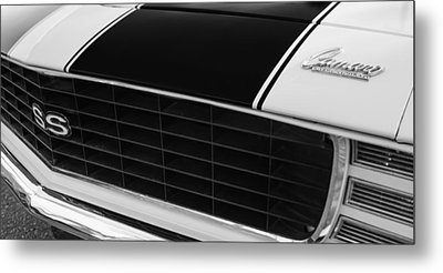1969 Chevrolet Camaro Rs-ss Indy Pace Car Replica Grille - Hood Emblems Metal Print by Jill Reger