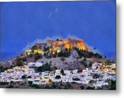 Acropolis And Village Of Lindos Metal Print