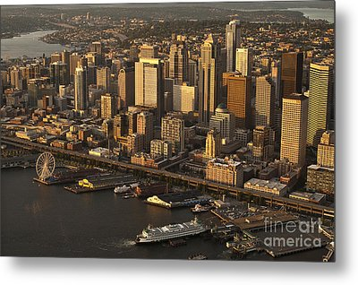 Aerial View Of Seattle Skyline Along Waterfront Metal Print