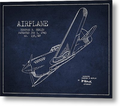 Airplane Patent Drawing From 1943 Metal Print