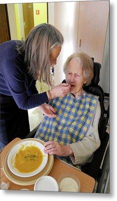 Alzheimer's Patient Being Fed Metal Print