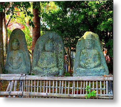 Metal Print featuring the photograph 3 Ancient Buddhas by Julia Ivanovna Willhite