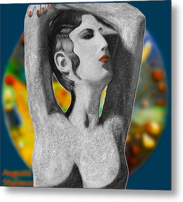 Aphrodite And  Cyprus Map Metal Print by Augusta Stylianou