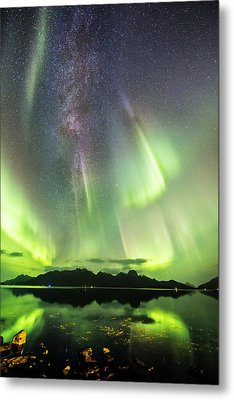 Auroras And Milky Way Metal Print