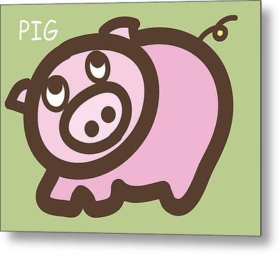 Baby Pig Art For The Nursery Metal Print