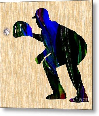 Baseball Catcher Metal Print by Marvin Blaine