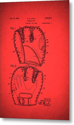 Baseball Glove Patent 1943 Metal Print by Mountain Dreams