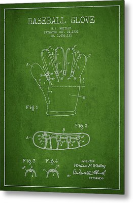 Baseball Glove Patent Drawing From 1922 Metal Print