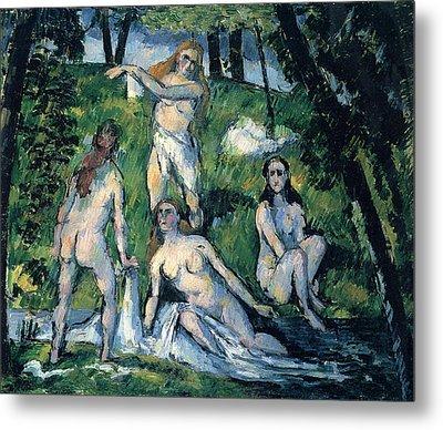 Bathers By Cezanne Metal Print by John Peter