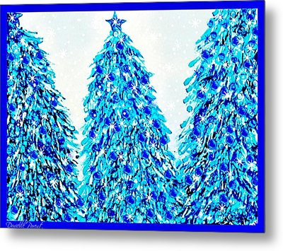 3 Blue Christmas Trees Alcohol Inks  Metal Print