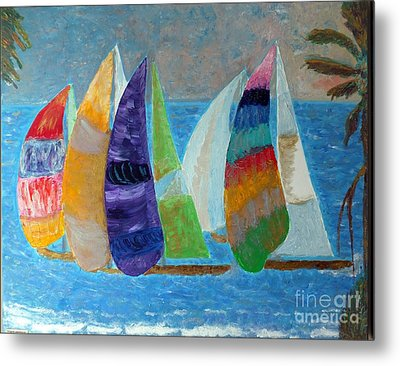 Boats At Sunset 1 Metal Print by Vicky Tarcau
