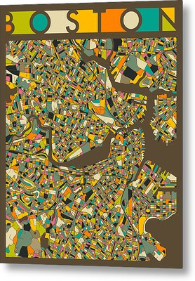 Boston Map Metal Print by Jazzberry Blue